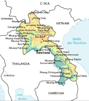 Tra Vietnam E Thailandia Cartina Geografica.Laos Sapere It