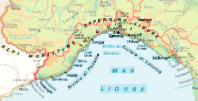 Liguria. Cartina geografica.